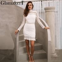 Glamaker Sexy Hollow Out White Lace Dress Women Elegant Ruffle Black Mini Dress Vestidos Autumn Female