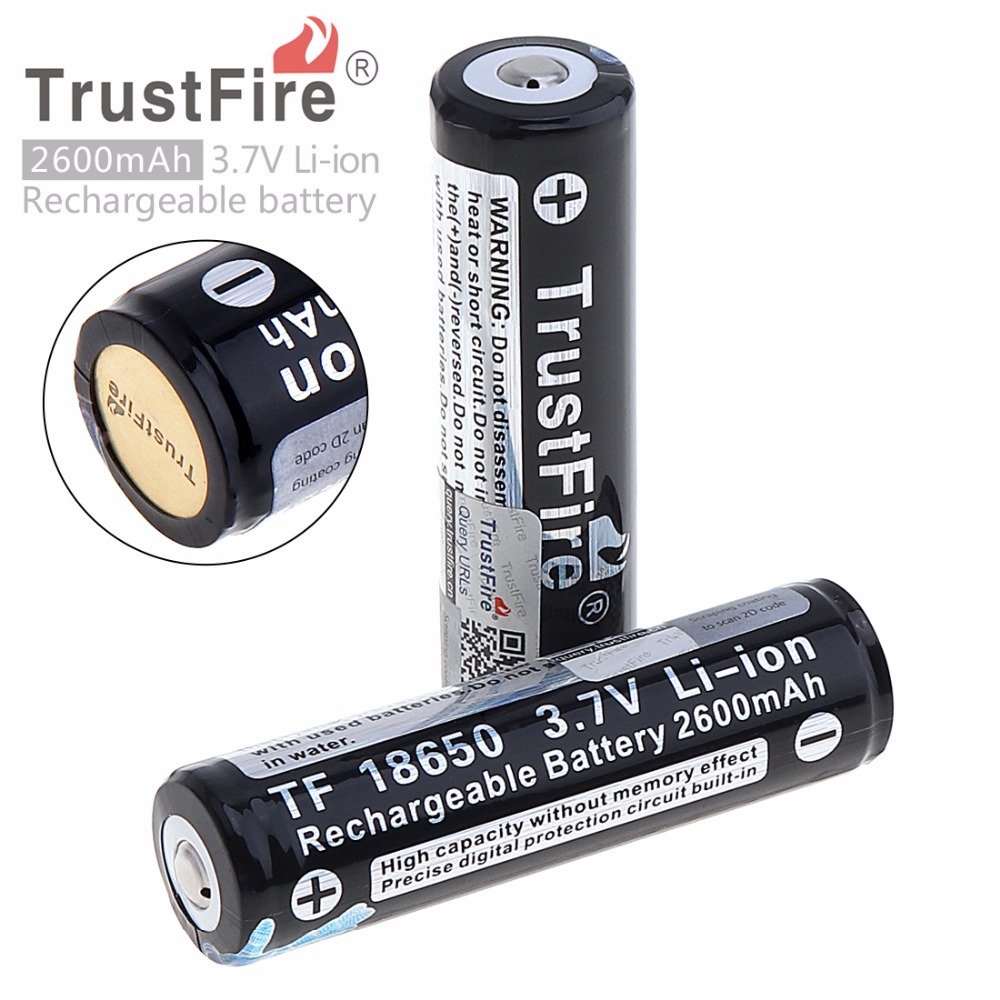 4pcs lot TrustFire 18650 Protected Rechargeable Batteries 3 7V 2600mAh Lithium Li ion Battery For Led Flashlight with PCB in Rechargeable Batteries from Consumer Electronics