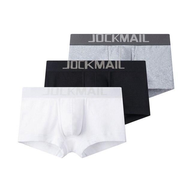 JOCKMAIL 3 قطعة/الوحدة ملابس داخلية للرجال مثير الرجال الملاكم سراويل قطنية U محدب مريحة تنفس أبيض رمادي أسود الذكور الملابس الداخلية