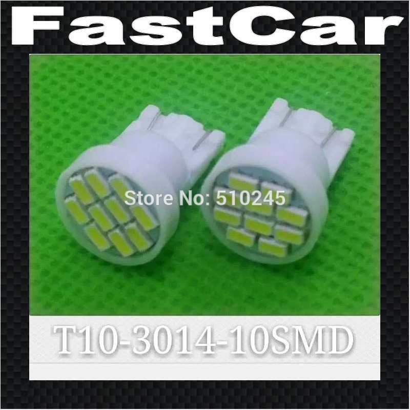 100X Free shipping Car Auto LED T10 194 W5W 10 led smd 3014 Wedge LED Light Bulb Lamp 10SMD White