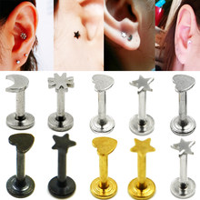 1Pcs Stainless Steel Sun Moon Star,Heart Internally Thread Labret Lip Studs Rings Ear Cartilage Helix Studs Piercing Jewelry(China)