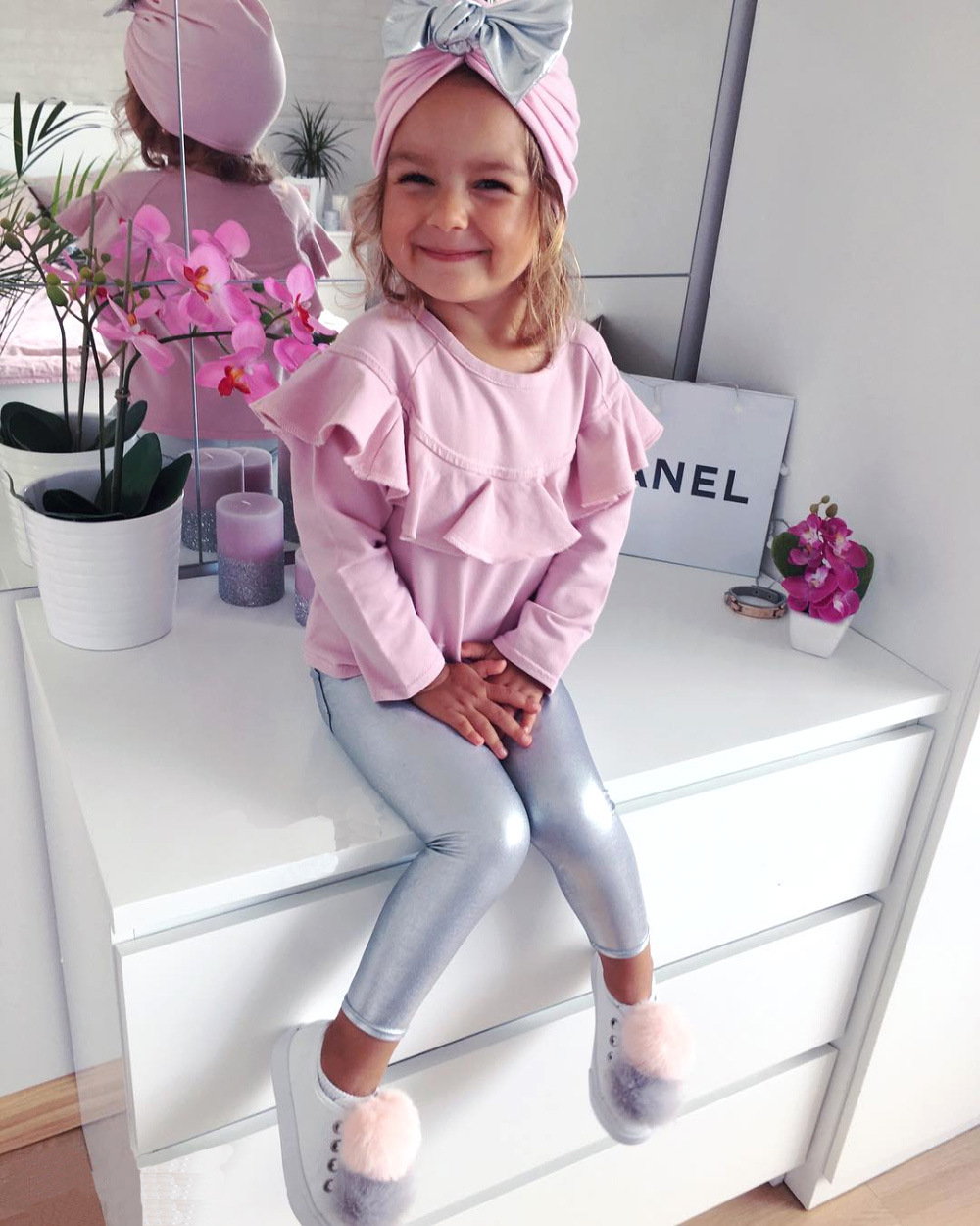3Pcs Child Woman Clothes Set Lengthy Sleeve Ruffles Pink High+ Silver Leather-based Leggings Pants +Bow Hat Outfits Children Garments Set