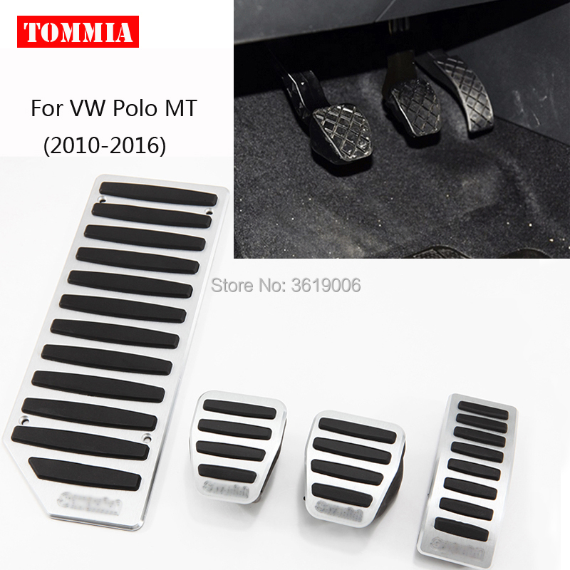 tommia Aluminum Footrest Gas Brake Pedals Pad kit For VW polo AT MT 2010-2017 no drilling cool design styling
