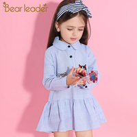 Bear Leader Girls Dress 2017 New Autumn Shirts Dresses Long Sleeve Striped Embroidery Cut Dog Cat