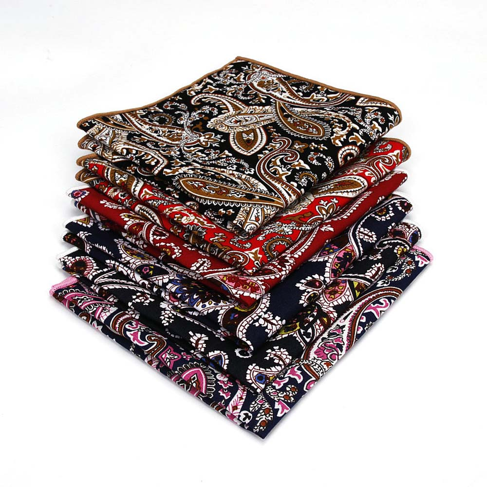 Men's High Quality Paisley Flower Pocket Square Wedding Hanky Handkerchief YFTIE0220