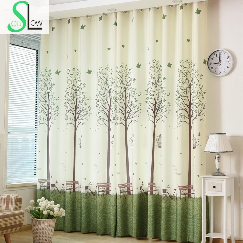 Cartoon Trees Curtains For Bedroom Cotton Linen Towel: [Slow Soul] Korean Bedroom Windows Shading CurtainPrinting
