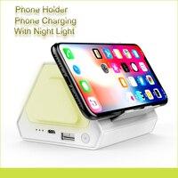 Suporte Do Telefone móvel Com o Estudante Tabela Night Light 2000 mAh Carregamento Suporte do telefone para Xiaomi iPhone X 8 Samsung S8 S7 smartphones