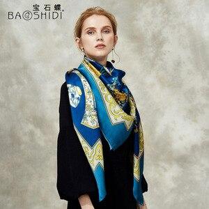 Image 4 - [BAOSHIDI] 100% di modo di seta sciarpa, 16 m/m di spessore, Infinity 132*132 cm Sciarpe delle donne, elegante di marca sciarpe, scialle delle signore, donna hijab