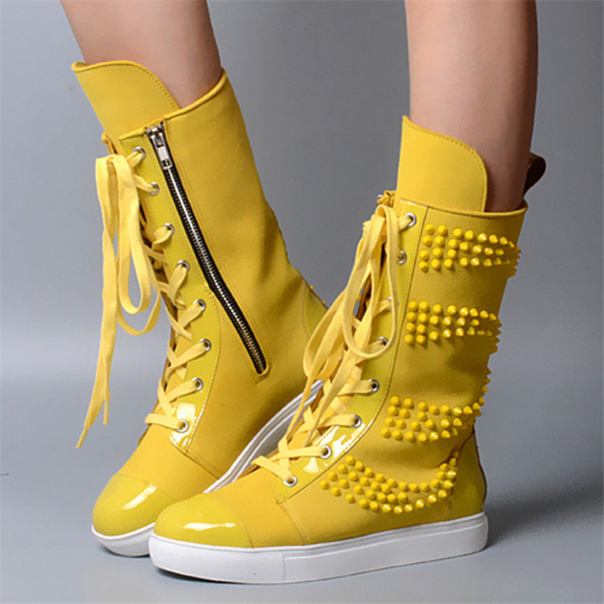 Bright Yellow Women Casual Flat Boots Rivets Lace Up Ladies Mid Calf Motorcycle Botas Gladiator Combat