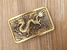 High Quality Antique Finish Retro Men's 100% Solid Brass Copper Belt Buckle for Men chinese dragon embossed