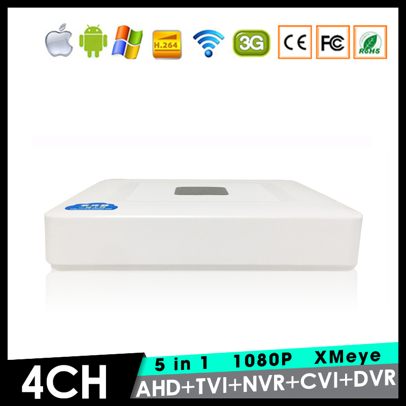 XMeye 4 Channel 4 CH 1080P Mini 5 in 1 Coaxial Hybrid TVi CVI IP NVR AHD DVR For 1080P Surveillance Camera Free Shipping
