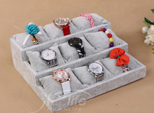 Free Ship 1pcs Gray wood+Velvet Jewelry Display Case 12 Grid Pillow Watches Bracelet