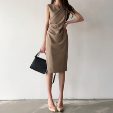 Women Round Neck Empire Pleated Dress Pencil Dress 2019 Summer Sleeveless Bag Hip Draped Dress Solid Casual Bodycon Dresses недорого
