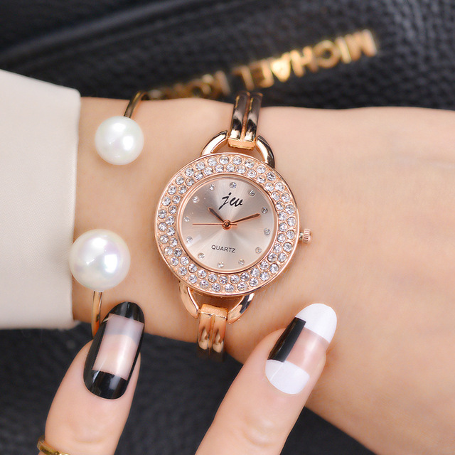 Fashion Women Famous Brand Jw Luxury Crystal Rhinestone Rose Gold Womens Analog