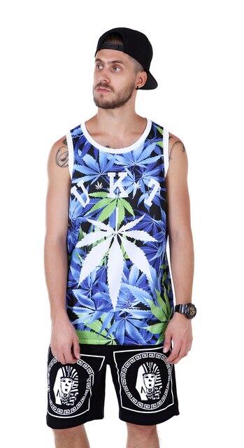 Летний Новый Стиль Печати Цветочный Синий Unkut Мужчины Хип-Хоп Майка Мода Фитнес Жилет Большой XXL U02