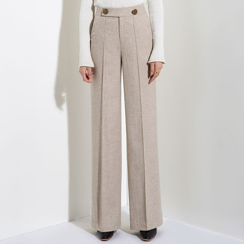 Autumn and Winter New Fall Wide Leg Pants Ladies Loose Straight Trousers Wool Trousers Harajuku Plus Size Pants Women