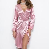 Bandage Long Sleeve Midi Dress Women Bodycon Pink Black Red Satin Party Dress 2018 Elegant Autumn Ladies Sexy Club Dresses