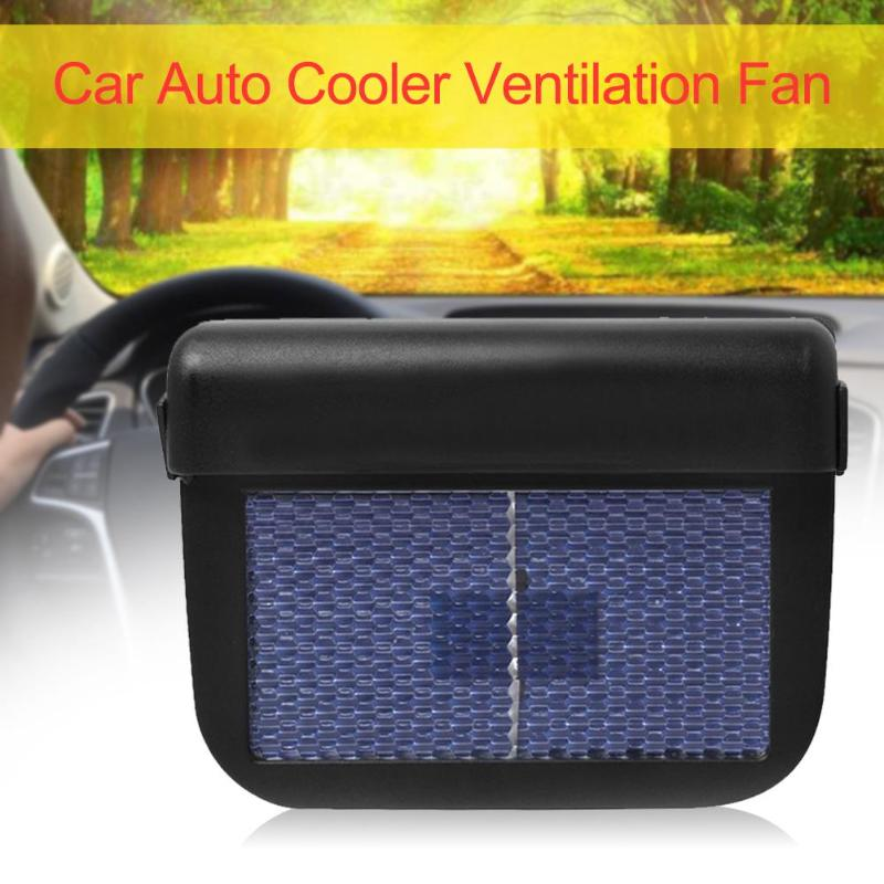 AUTO COOLER Solar Powered Car Air Vent Cooling Cooler Fan for Car Windows Black