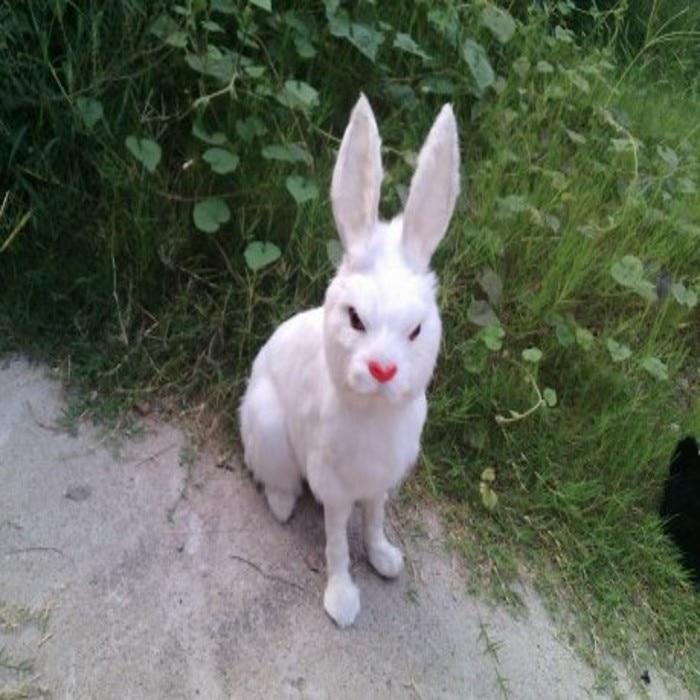 Grande belle simulation lapin jouet artisanat réaliste blanc lapin poupée cadeau environ 43x40 cm