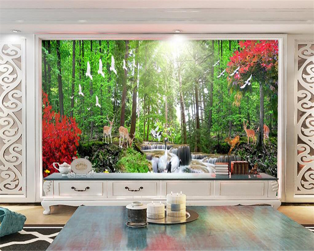 Beibehang Home Decorative Wallpaper HD Red Trees Trees Deer Fantasy Forest  TV Wall Background Walls 3d