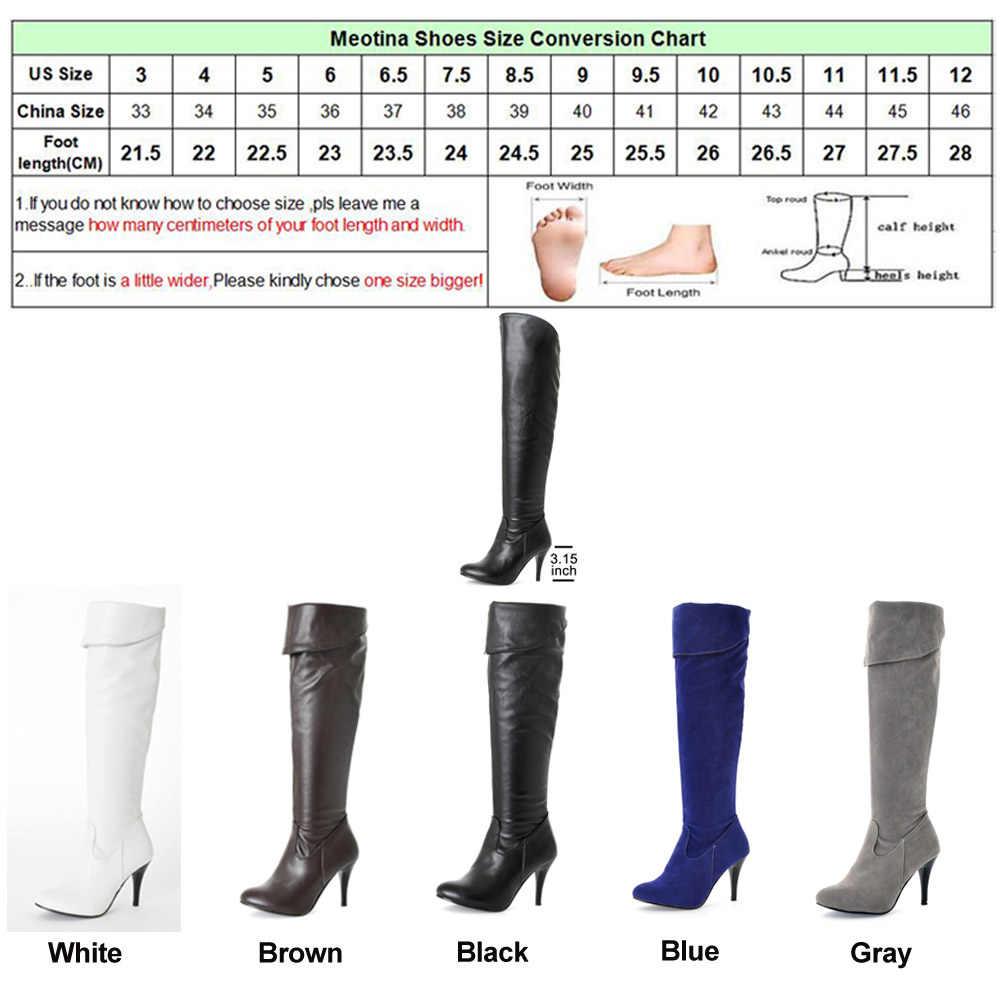 Meotina/женские сапоги высокие сапоги до бедра на высоком каблуке пикантные Зимние Сапоги выше колена Женская Осенняя обувь черного и белого цвета Большие размеры 10, 43