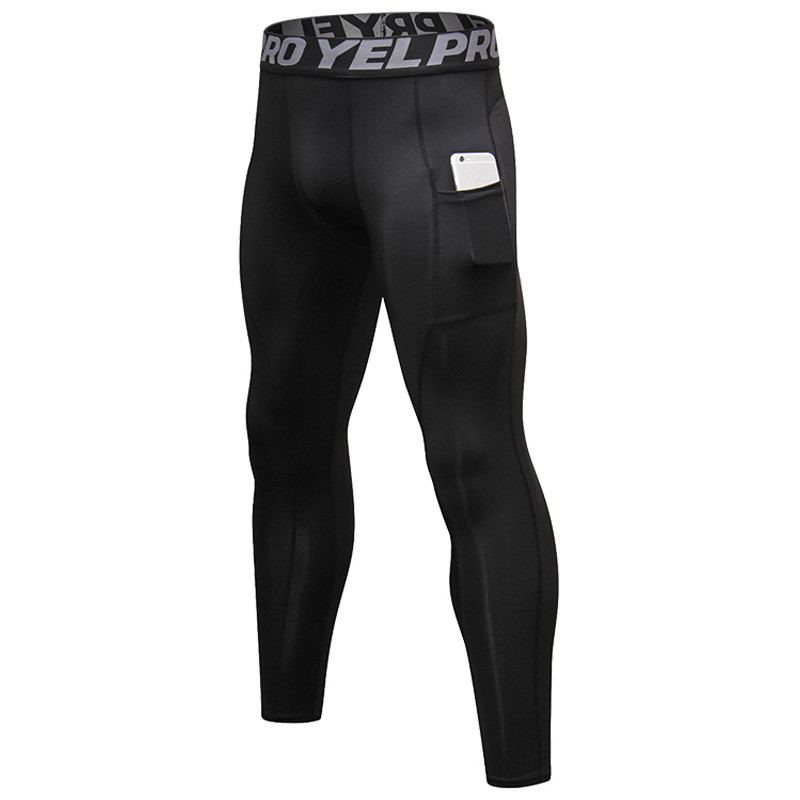6 Colors Men Compression Pants With Pocket Fitness Trousers Slimmimg Hombre Bodybuilding Tights Crossfit Sweat Pants Leggings