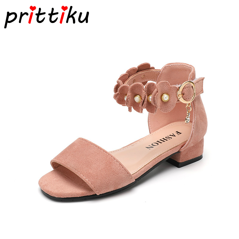 Summer 2018 Toddler Girl Pearl Beaded Faux Suede Heeled Sandals Little Kid Fashion Brand Flats Big Children Princess Dress Shoes ems dhl free shipping toddler little girl s 2017 princess ruffles layers sleeveless lace dress summer style suspender