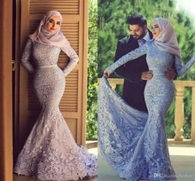 2018 Muslim Arabic Long Sleeves Lace Mermaid formal Evening Party Prom gown Appliques robe de soiree Mother of the Bride Dresses цена