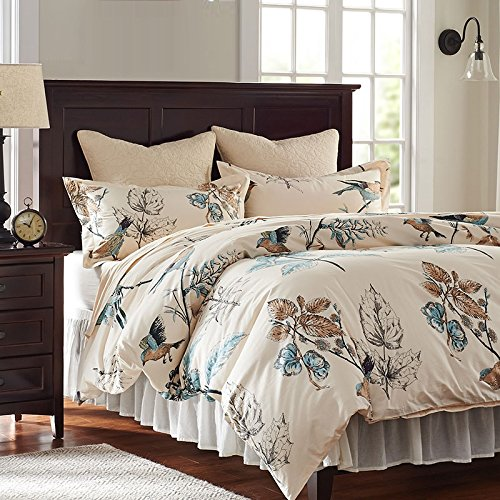 American Country Style Bird Bedding Set Duvet Cover Queen Full Size