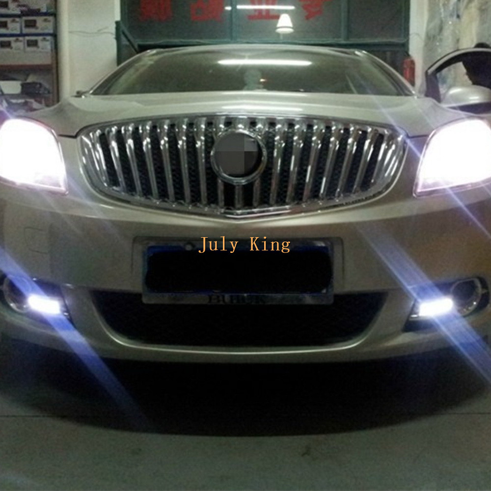 July King LED Daytime Running Lights LED DRL With Fog Lamp Cover Case for Buick Excelle GT / Verano 1:1 Replacement, 4LEDs-type july king led daytime running lights drl with fog lamp cover case for chevrolet malibu 2012 15 1 1 replacement free shipping