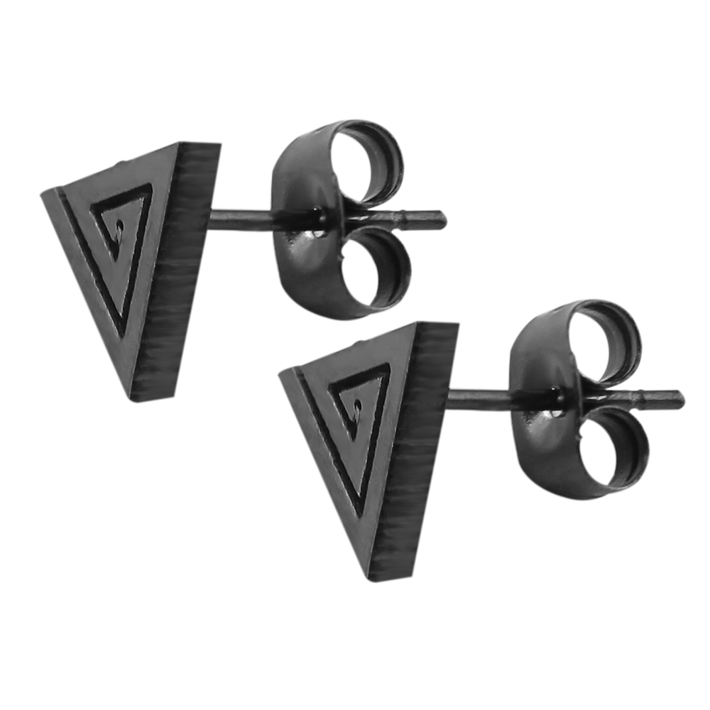 1 Pair Geometric Fashion Earring Stud Jewelry Mysterious Triangle Earring Studs High Quality Black Stud Earrings For Women/Men