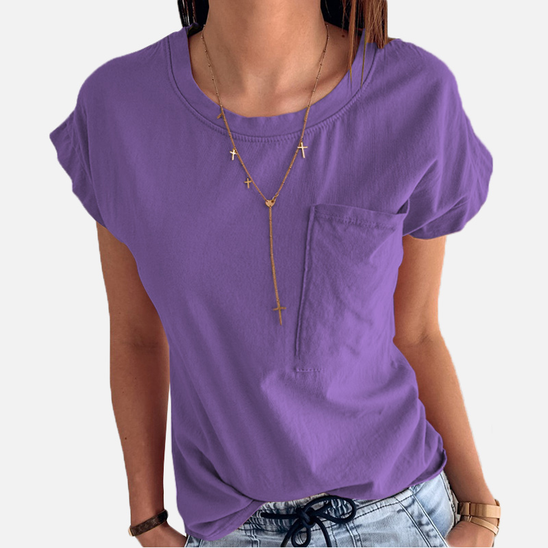 100% Cotton Short Sleeve Purple Women's T-shirts Soft Pocket Female Tees Shirts 2019 Summer Fashion Casual Loose Ladies Tops