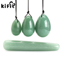 KIFIT Practical 3pcs Natural Green Aventuri Yoni Egg Kegel Exercise 1pc Massage Stick Tool Set For