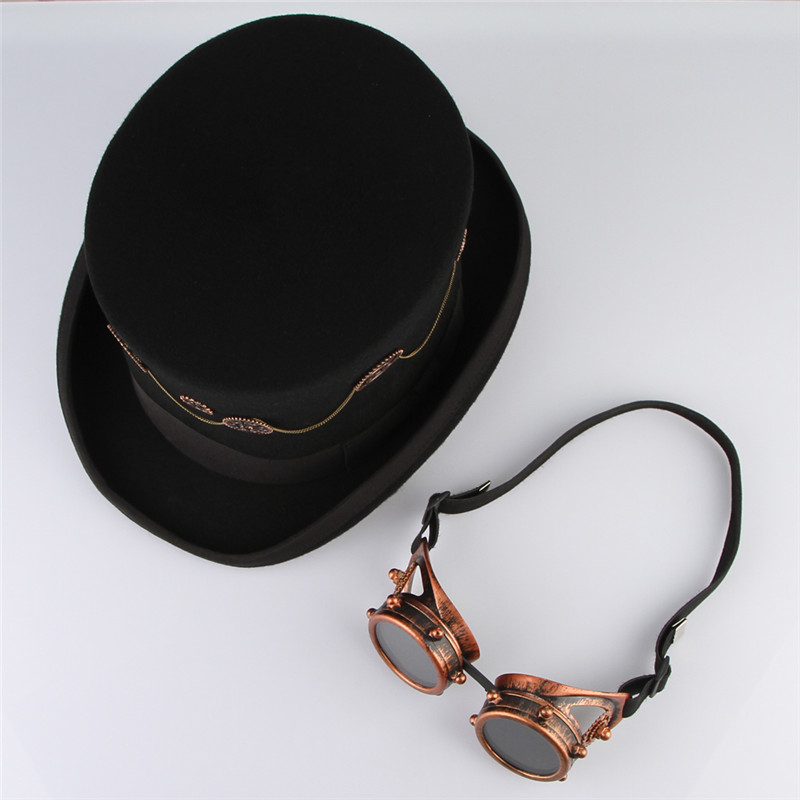 6b89d06caa3 Steampunk Top Hat Unisex Felt Hats Vintage Punk Style Top Cap Fedoras With  Gear Glasses Rock Band Hat Cosplay Magic Hat-in Fedoras from Apparel  Accessories ...