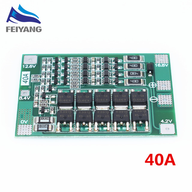 4S 40A Li-ion Lithium Battery 18650 Charger PCB BMS Protection Board with Balance For Drill Motor 14.8V 16.8V Lipo Cell Module