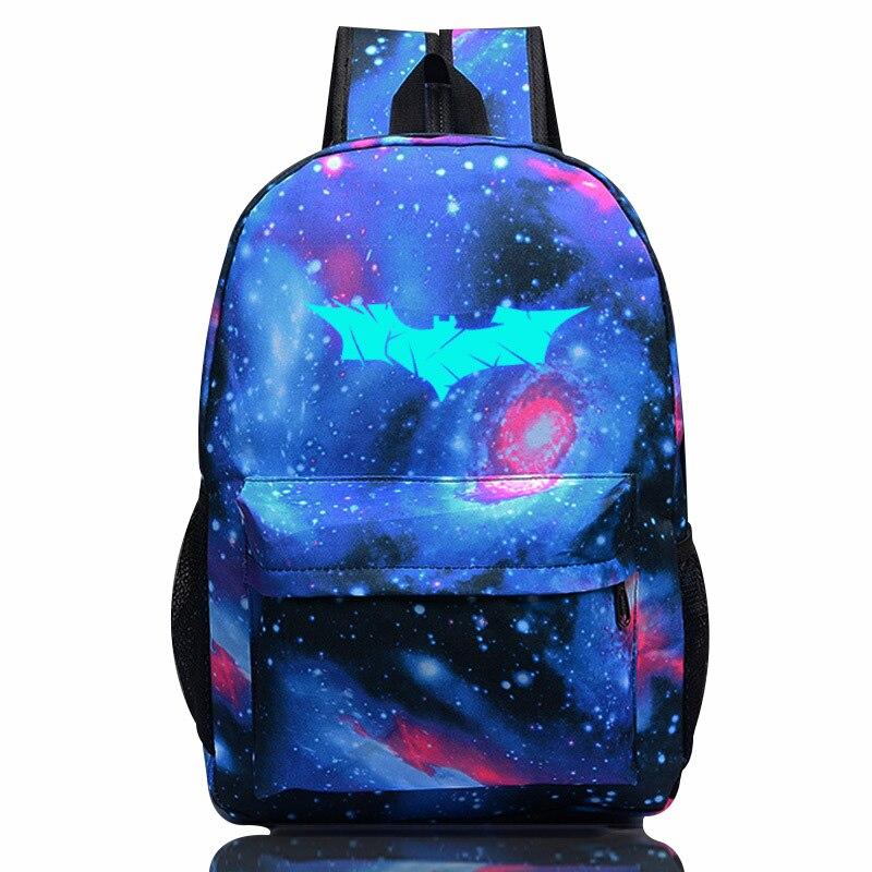 Comics Batman Luminous Backpack 2018 Fashion Teenagers Starry Sky School Bag High Quality Nylon travel Rucksack Kanken