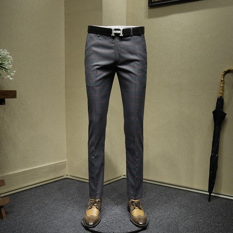Pantalones De Vestir Para Hombre Slim Fit Azul Gris Hombres Formal Oficina De Negocios Trajes Boda Pantalones A Cuadros De 30 A 36 Tamanos Regalos Del Dia Del Padre Pantalones De Traje Aliexpress