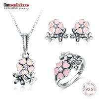 LZESHINE 925 Sterling Silver Fashion Enamel Daisy Wedding Jewelry Sets For Women Flower Necklace/Stud Earrings/Ring Set 0061