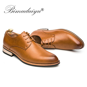 Image 3 - BIMUDUIYU  Cowhide Leather Dress Shoes For Men Fashion Oxford Formal Shoes Spring Pointed Toe Wedding Business Casual Shoe