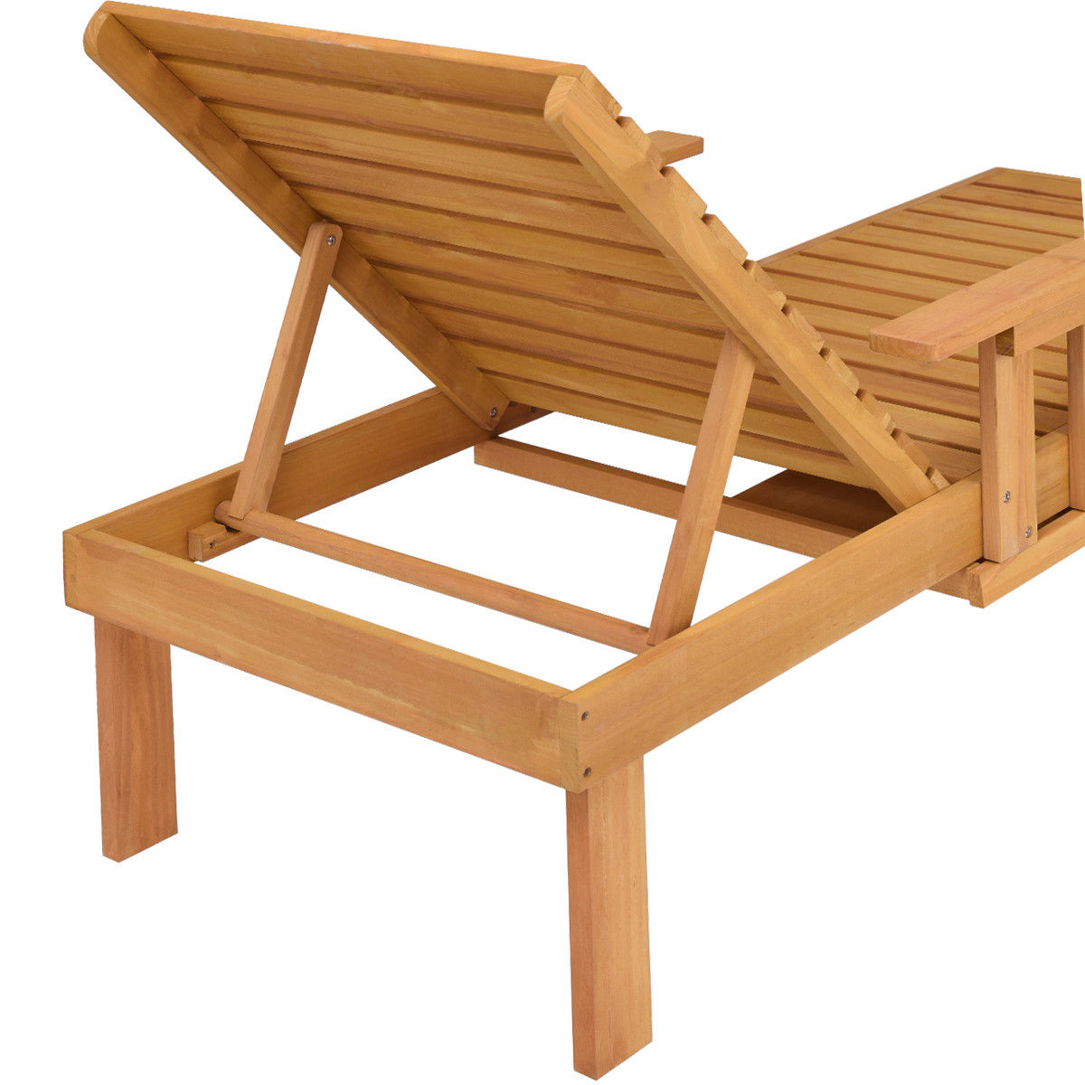 Giantex patio chaise sun lounger outdoor furniture garden side tray deck chair modern wood beach lounge chair hw56771 in sun loungers from furniture on