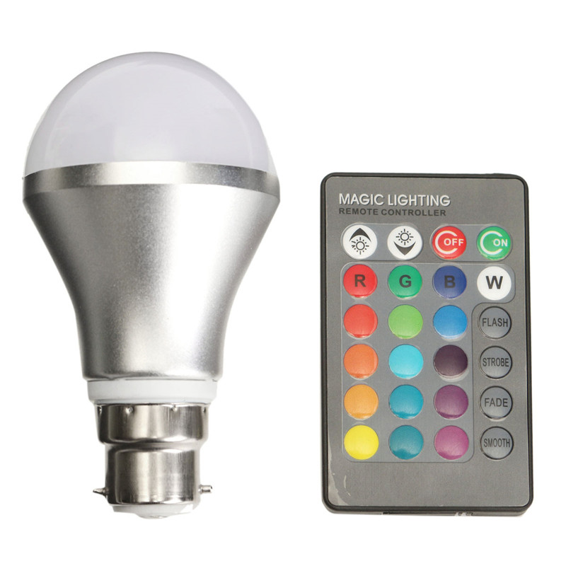 4W LED Light Bulb B22 Bayonet Adjustable RGB Color Changing Bulb With IR Remote Controller for living room, dining room, bedroom