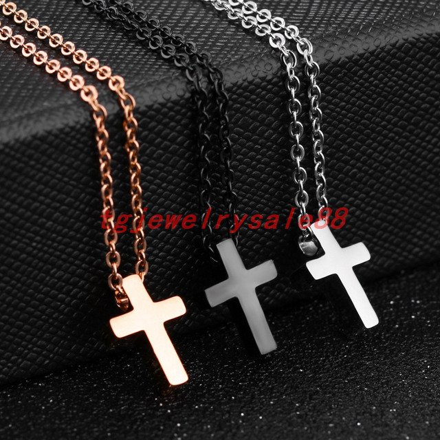 Small cute silver rose gold black cross pendant stainless steel small cute silver rose gold black cross pendant stainless steel simple plain cross necklace charm mens aloadofball Image collections