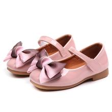 Girls leather shoes Children girls baby princess bowknot sneakers pearl diamond single Kids dance Newest Autumn