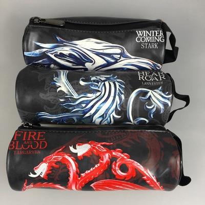 Kawaii Pen Pencil Box Leather Zipper Pencil Key Coin Bag Wallet Games of Thrones Harry Potter World of Warcraft Purse