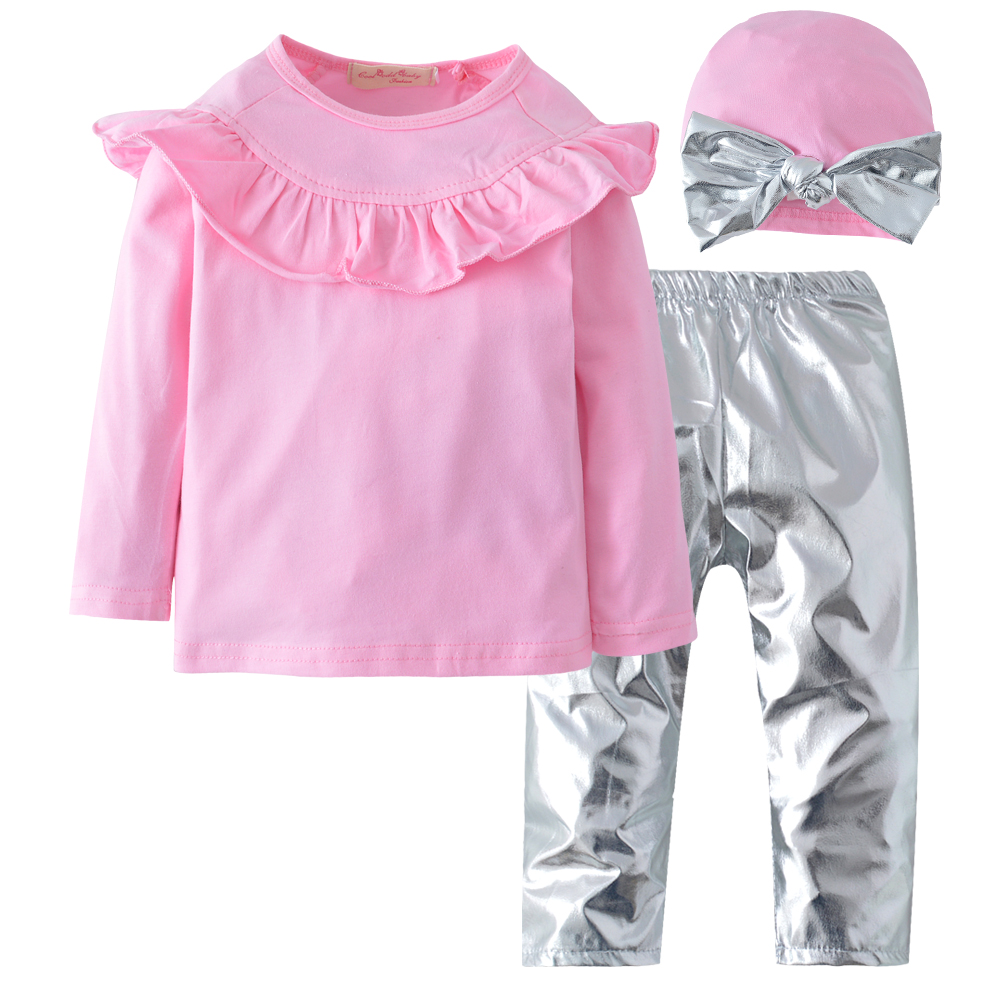 New Kid Baby Girl Clothing Long Sleeve ruffles Pink Top+ Silver Leather Leggings Pants +Bow Hat Outfits Clothes 3pcs set