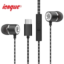 Icoque Stereo Headphones For Usb Leeco Type-c Earphone with Mic Type C Earphones for Letv LeEco Le 2 Pro Max 2 Phone Earphone