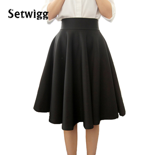 SETWIGG Spring New Women's Fashion Vintage Skirts High Waist Street Thick Lined Celebrity Flare Pleated Midi Swing Skirt Female