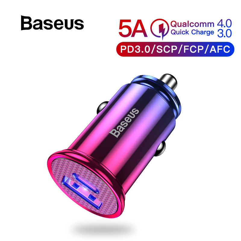 Baseus 30W Quick Charge 4.0 3.0 USB Car Charger For Samsung Huawei Supercharge SCP QC4.0 QC3.0 Fast PD USB C Car Phone Charger(China)