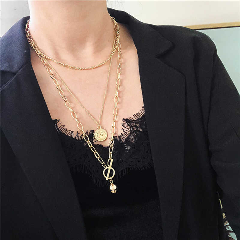 Huanzhi 2019 Baru Trendi Bola Logam Koin Liontin Multi-Lapisan Punk Santai Desain Rantai Panjang Kalung untuk Wanita Pria perhiasan Hadiah