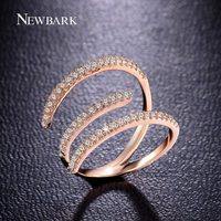 NEWBARK Ring Bijoux Rose Gold Plated Zirconia Diamond Pave Bague Unique Irregular Hook Cocktail Rings For